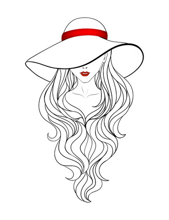 Young girl in a vintage hat with large fields, red ribbon and long hair. Line art.