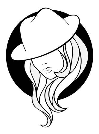 Young girl in a vintage gangster hat on black round background. Line art