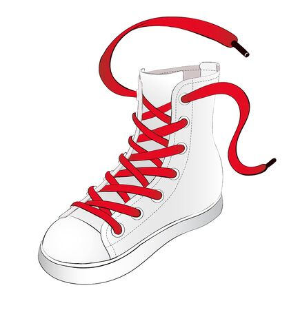 shoelaces: Hand Drawn White Sneakers with Red Shoelaces Scattered in Oposit Directions Illustration