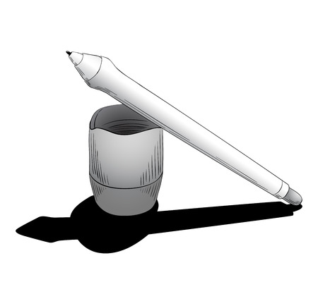 digitizer: Graphic design instrument, pen for tablet with touchscreen, to digitalizing illustration or retouching photos