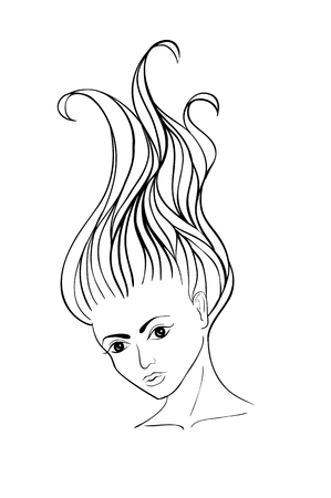 long black hair: Young girl with long flowingcurly swirly hair. Drawn with black lines. Sketch style Illustration