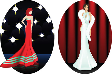 white fur: Two young women in elegant white and red dresses on stage. First is a celebrity, paparazzi taking pictures of her. Other is standing in front of a red curtain and have on her shoulders long white fur