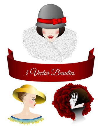 Portraits of women dressed in vintage style. One ready for winter in hat with the red bow and fur collar, Lady with blue eyes and blush, yellow hat with large fields and a mime with the red rose Vector