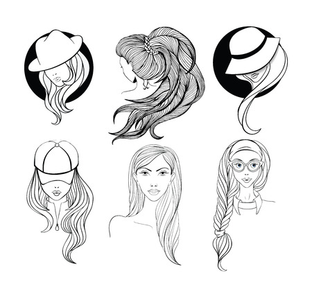nude young: Six young girls  with long hair made in sketch doodling style. Girl - nerd with cat-eyes glasses, lady in the baseball cap, and two women in vintage hats