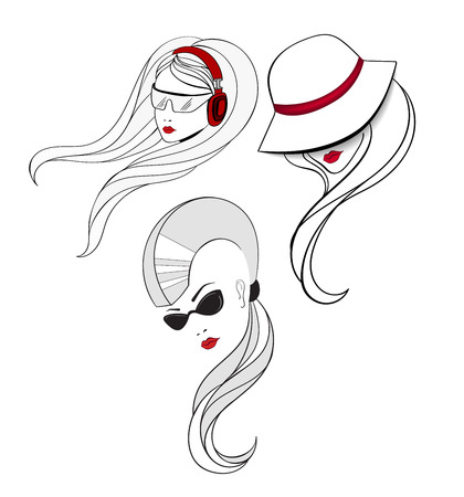 One have the haircut with shaved sides and long tail in the back with cat eyes glasses. Elegant women in vintage hat and girl who listen the music with red headphones