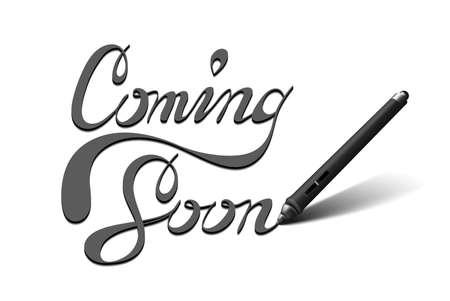 Business-Konzept Bild von einem Stift für Tablet mit Touchscreen, was schreibt Demnächst. Isoliert auf weißem Standard-Bild - 43701755