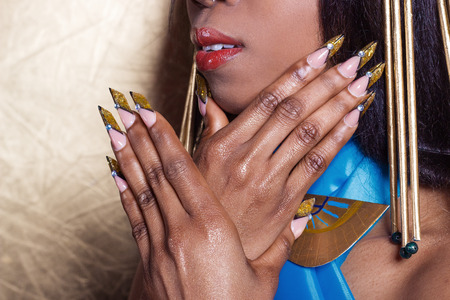 beautiful long designer nails , nails for exhibitions, french manicure photo