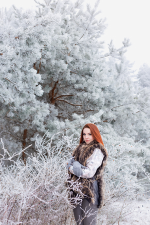 trimester: beautiful cute sexy young girl with red hair walking in a snowy forest among the trees missed first trimester bushes with red yagodamiv warm coat with bright makeup