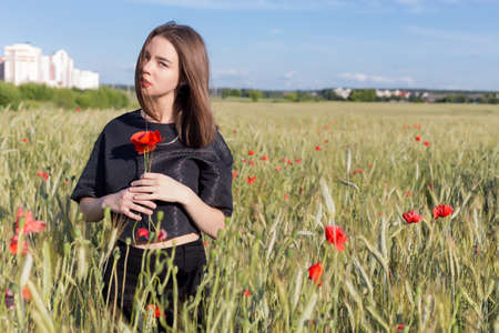 full lips: beautiful cute sexy young woman with full lips with short hair in a field with poppy flowers in their hands