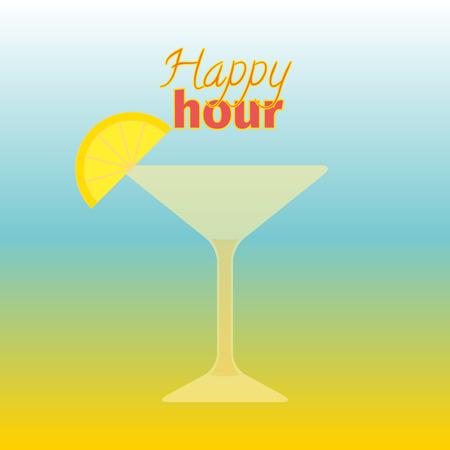 Firme el patrón con el vidrio. Ilustración vectorial Letras Happy hour con cóctel. Diseño de tarjeta para salón de cócteles en el fondo colorido. Textura para bar o restaurante. Concepto de comida y bebida