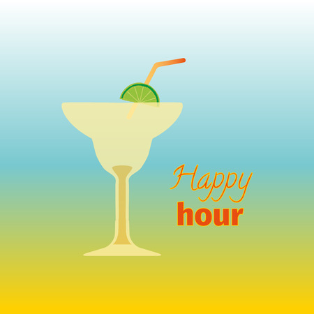 Happy hours with cocktail. Vector illustration. Lettering sign pattern. Card design for cocktail lounge on the gradient background. Vector design texture for bar or restaurant. Food and drink concept. Illustration