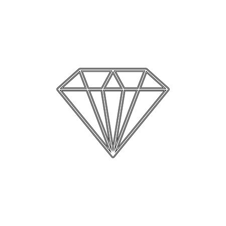 Diamond icon. Vector Illustration. Shiny crystal sign. Brilliant stone. Black stroke isolated on white background. Fashion modern design. Flat element. Symbol gift, jewel, gem or royal, rich.