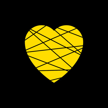 yellow heart icon. Grunge texture shape sign isolated on black background. Vector illustration, Symbol of romantic, love, passion. Abstract design element for t-shirt, holiday or greeting, decoration