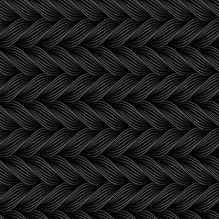 Vector seamless pattern with braids. Texture of yarn with dotted line plaits close-up. Abstract ornamental background. Endless stylish texture. Ripple background. Decorative illustration for print,web