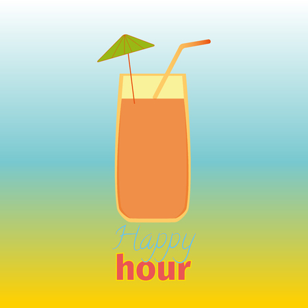 Happy hours with cocktail. Vector illustration. Lettering sign pattern. Card design for cocktail lounge on the colorful background. Vector design texture for bar or restaurant. Food and drink concept.