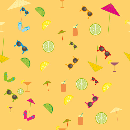 coctail: Summer vector seamless pattern with drawn lime fruit slice,slippers,coctail, umbrella and sunglasses. Vintage cute background in pastel colors. Vector design texture for walpaper, decorative textile