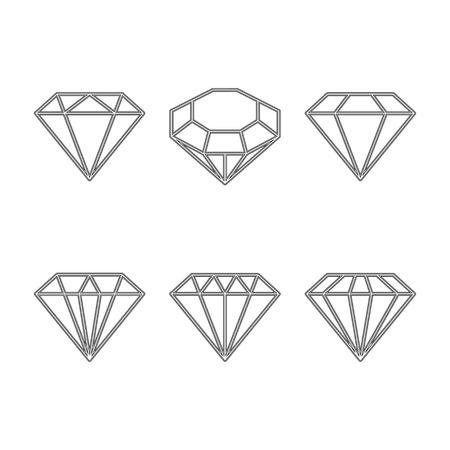 earing: Diamond set icon. Vector Illustration. Shiny crystal sign. Brilliant stone. Black stroke isolated on white background. Fashion modern design. Flat element. Symbol gift, jewel, gem or royal, rich.