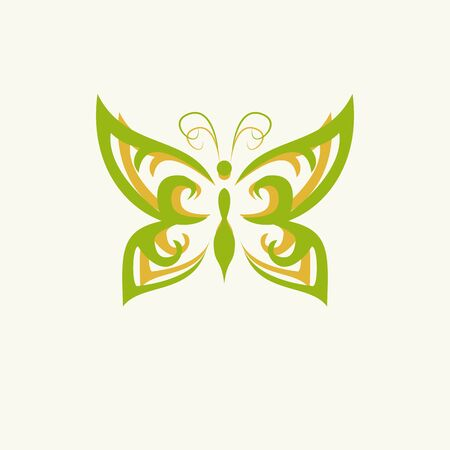 vivid colors: Eco icon green butterfly symbol. Vector illustration isolated on the light background. Fashion graphic design. Beauty concept. Vivid colors butterfly. Smooth shape. Plain flat style colors.
