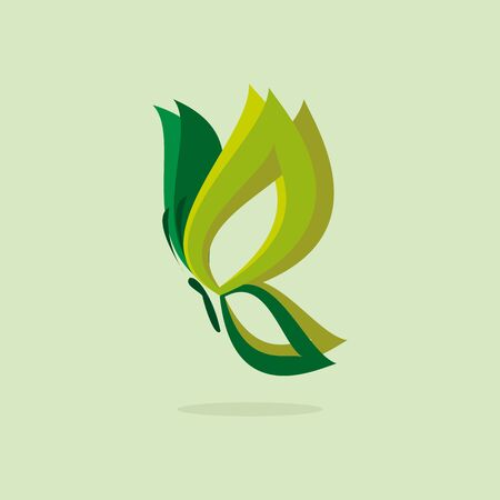 vivid colors: Eco icon green butterfly simbol. Vector illustration isolated on the light background. Fashion graphic design. Beauty concept. Vivid colors butterfly. Smooth shape. Plain flat style colors.