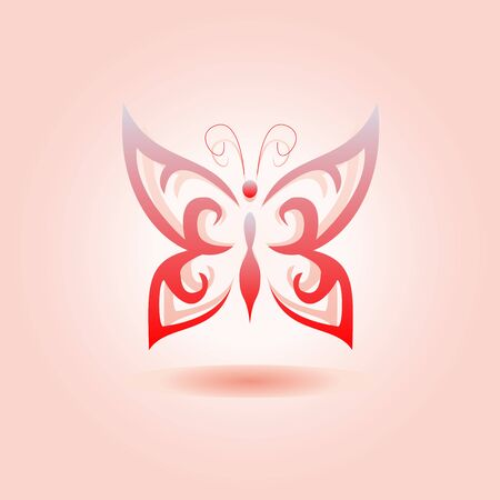 vivid colors: Eco icon red butterfly simbol. Vector illustration isolated on the light background. Fashion graphic design. Beauty concept. Vivid colors butterfly. Smooth shape. Plain flat style colors.