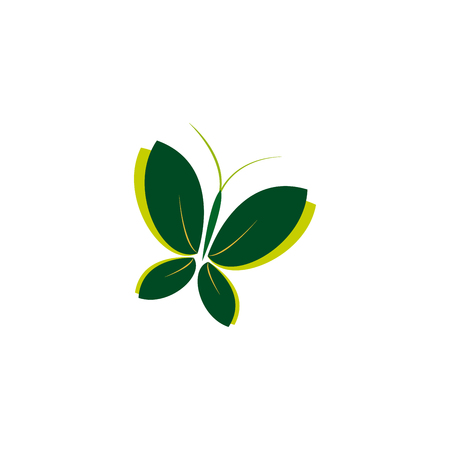 Eco groen pictogram symbool van vlinder. Vectorillustratie, geïsoleerd op een lichte achtergrond. Mode grafisch ontwerp. Schoonheid concept. Heldere kleurenvlinder. Gladde vorm. Eenvoudig plat gekleurde stijl.