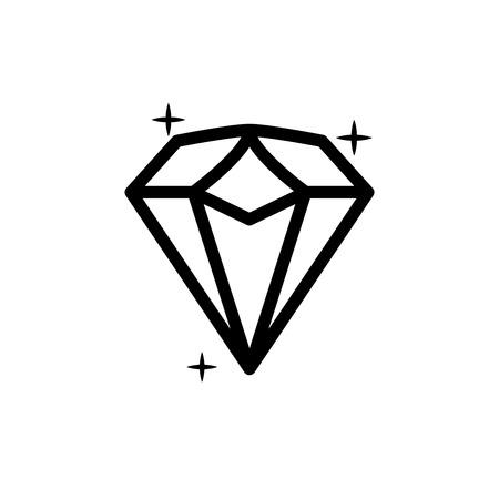 earing: Diamond icon. Vector Illustration. Shiny crystal sign. Brilliant stone. Black stroke isolated on white background. Fashion modern design. Flat element. Symbol gift, jewel, gem or royal, rich.