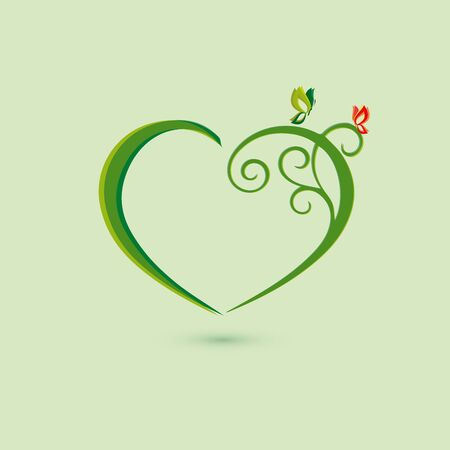 vivid colors: Eco icon green butterfly and branch simbol. Vector illustration isolated on the light background. Fashion graphic design. Beauty concept. Vivid colors heart. Smooth shape. Plain flat style colors.