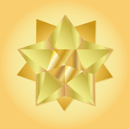 crystal button: Golden star geometric 3d icon. Modern style. Vector illustration. Elegant symbol of achievements and victories. Symbol for web or print design. Product quality rating isolated on gold background.