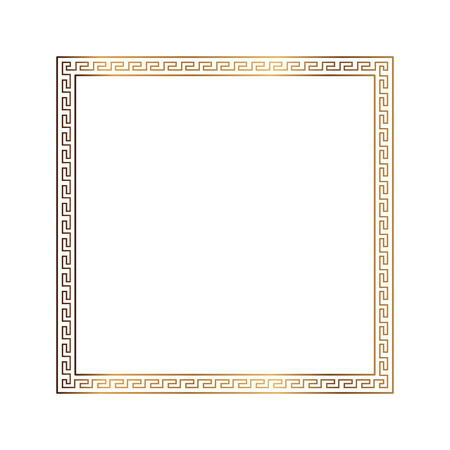 old frame: Greek style ornamental decorative frame pattern isolated. Greek Ornament. Vector antique frame pack. Decoration element patterns in black and gold colors. Ethnic collections. Vector illustrations.