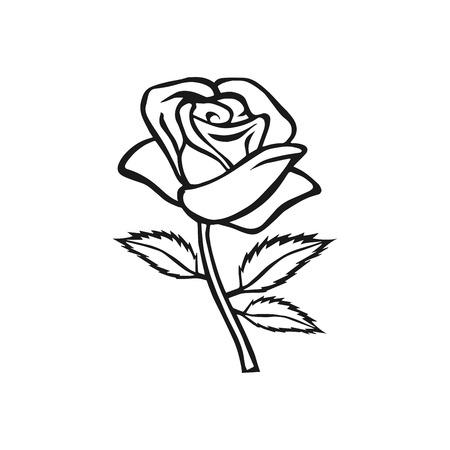 Rose schets. Rose motief. Bloem design elementen. Vector illustratie. Elegant bloem schetsontwerp. Gray symbool op een witte achtergrond. Abstract steeg. Goed voor het ontwerp, logo of decoratie
