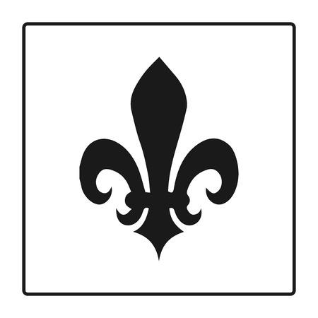 Fleur de lis symbol, silhouette - heraldic symbol. Vector Illustration. Medieval sign. Glowing french fleur de lis royal lily. Elegant decoration symbol. Heraldic icon for design, logo or decoration. Ilustração