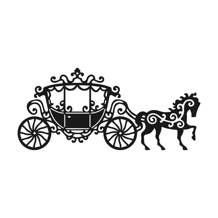 말과 마차 실루엣입니다. 벡터 일러스트 레이 션의 바로크 스타일에서 brougham입니다. 빈티지 캐리지 흰색 배경에 고립입니다. 디자인, 초대장, 로고 또는 장식에 좋습니다
