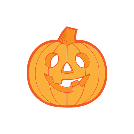 Halloween decoration Jack-o-Lantern silhouette. Pumpkin design with scary face on white. Vector illustration. Flat design. Good for design and decoration