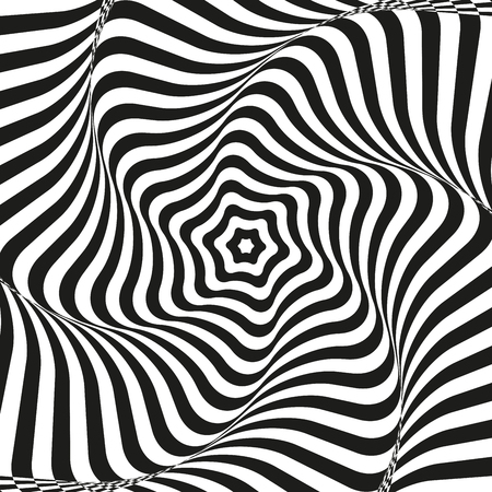 optical illusion art background. Optical illusion. black and white desktop wallpaper. graphic design. Vector repeating texture with curvature effect. Template for print, textile, wrapping, decoration