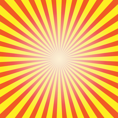 Rising or setting sun with sun rays in yellow. Vector illustration.