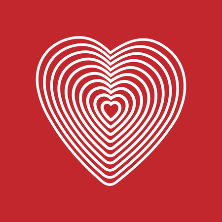 White heart on red background. Optical illusion of 3D three-dimensional volume. Vector illustrator. Good for design, decoration