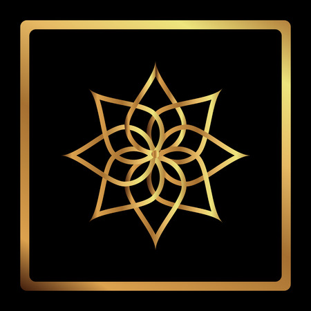 karat: Circular pattern. Geometric icon. Seven pointed gold star on black background. Modern style. Vector illustration. Simple symbol. Mandala. Fashion graphic design. Smooth shape.