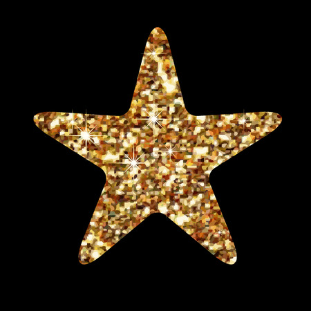 product quality: Golden glitter star geometric . Modern style. Vector illustration. Elegant symbol of achievements and victories. Symbol for web or print design. Product quality rating isolated on black background.