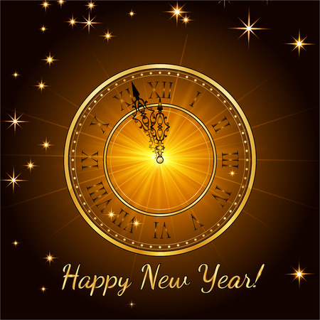 Happy New Year 2017. Vector background.Typographic Wishes and Winter Holiday Elements on gold background. Greeting illustration for Xmas. Template for invitation,  banner, poster, rooster year. Illustration