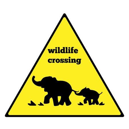beware: Beware elephant traffic sign. Elephant warning traffic sign. Warning traffic sign isolated on a white background. Wildlife Crossing Illustration