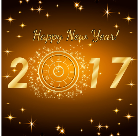 Happy New Year 2017. Vector background.Typographic Wishes and Winter Holiday Elements on gold background. Greeting illustration for Xmas. Template for invitation, banner, poster, rooster year.
