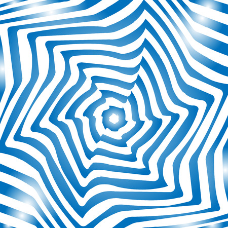 tunnel vision: optical illusion art background. Optical illusion.blue and white desktop wallpaper. graphic design . Vector repeating texture with curvature effect. Template for print, textile, wrapping, decoration Illustration