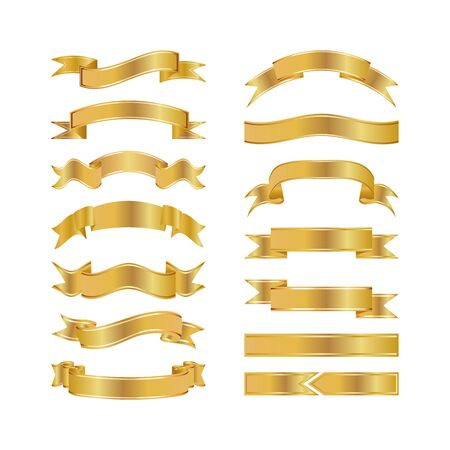 Golden Ribbons Isolated On White Background, Vector illustration, Graphic Design Useful For Your Design or banners for your text. Logo Symbols.