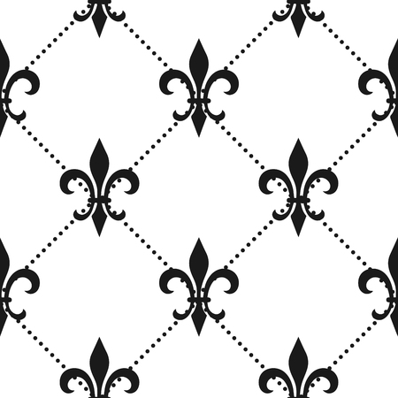 Golden fleur-de-lis seamless pattern. Vector illustration. Black white template. Floral texture. Elegant decoration, royal lily retro background. Design vintage for card, wallpaper, wrapping, textile.