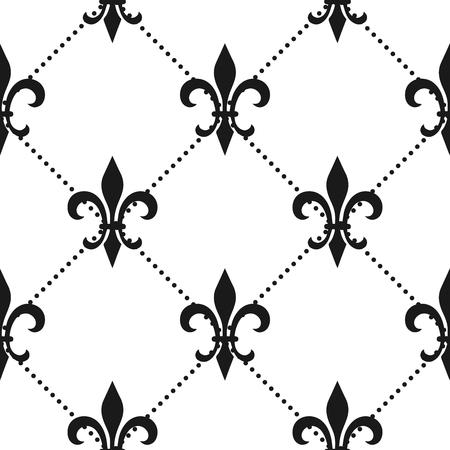 Golden fleur-de-lis seamless pattern. Vector illustration. Black white template. Floral texture. Elegant decoration, royal lily retro background. Design vintage for card, wallpaper, wrapping, textile. Illustration