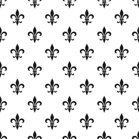 Fleur Illustration golden fleur-de-lis seamless pattern. illustration. black white