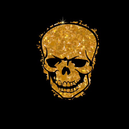Golden skull. Vector illustration. Luxury background design with light, vibrant, glow and sparkle, glitter. Symbol of holiday, celebration. Luxury silver texture can be used for t-shirt