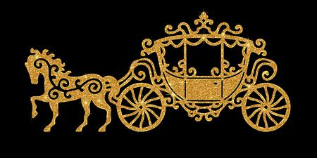 Paard en wagen gouden silhouet. Vector illustratie. Art zilveren glitter icoon. Creatief concept voor het web, gloed licht confetti, helder lovertjes, fonkeling klatergoud, abstract bling, flikkering stof. Stock Illustratie