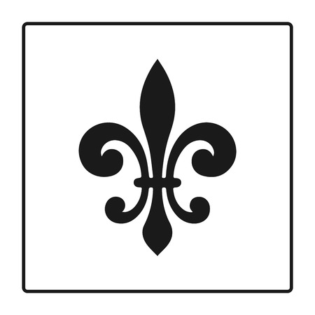 fleurdelis: Fleur de lis symbol, silhouette - heraldic symbol.   Glowing french fleur de lis royal lily. Elegant decoration symbol. Heraldic icon for design, logo or decoration. Illustration
