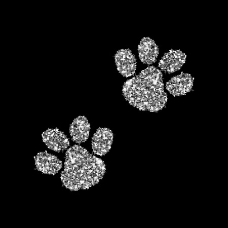 footprints in sand: Silver paws. Vector illustration. Luxury background design with light, vibrant, glow and sparkle, glitter. Symbol of holiday, celebration. Luxury silver texture can be used for t-shirt Illustration